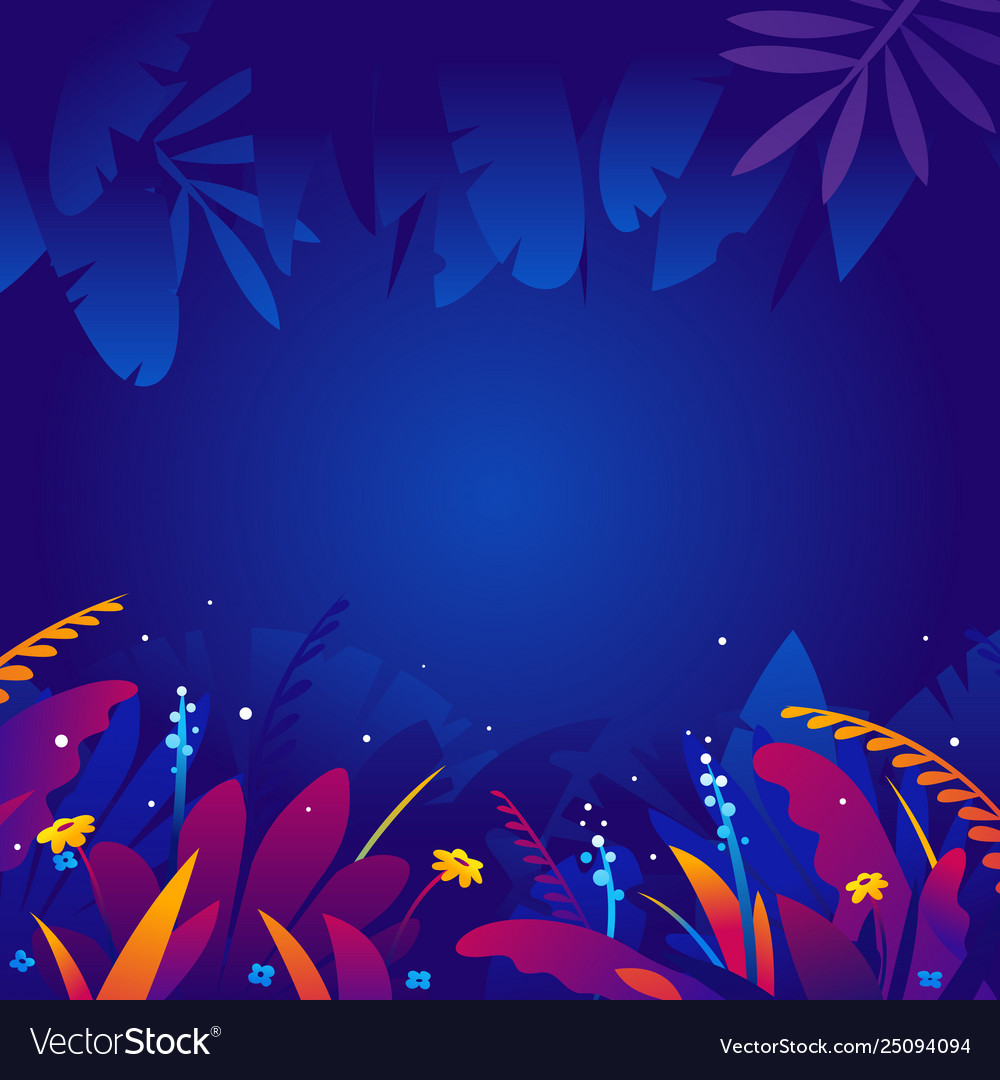 Exotic Tropical Plants In Night Background Vector Image