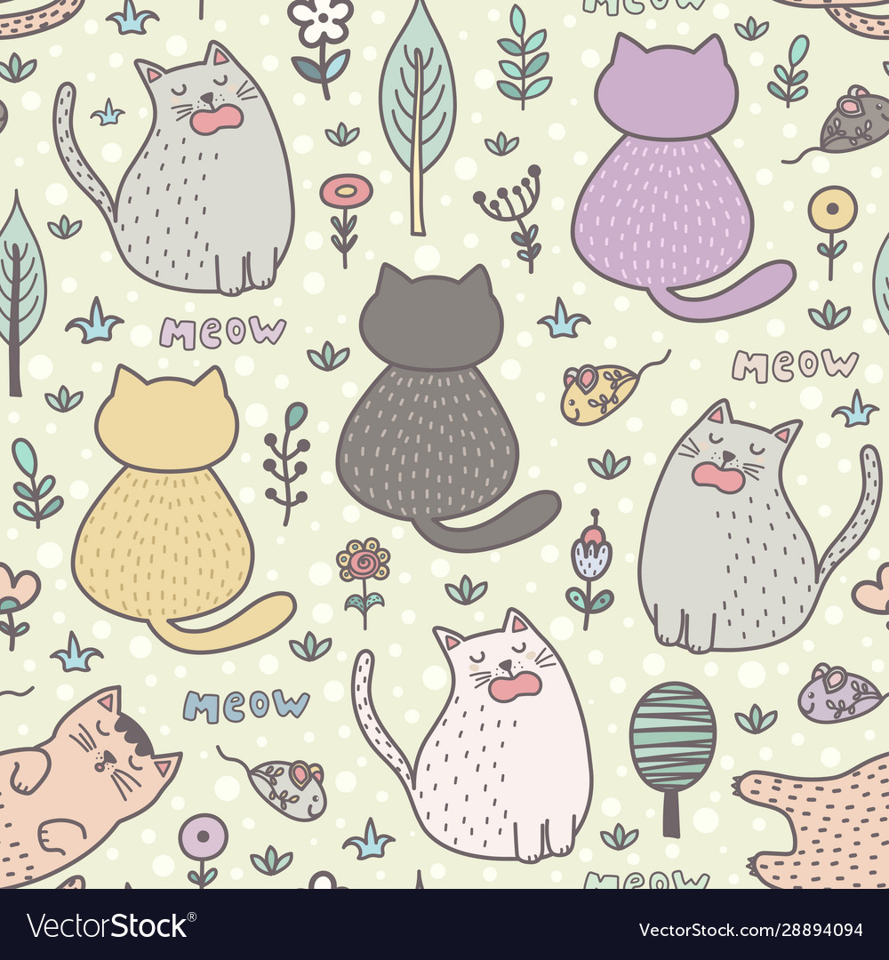 Funny cartoon cats seamless pattern childish