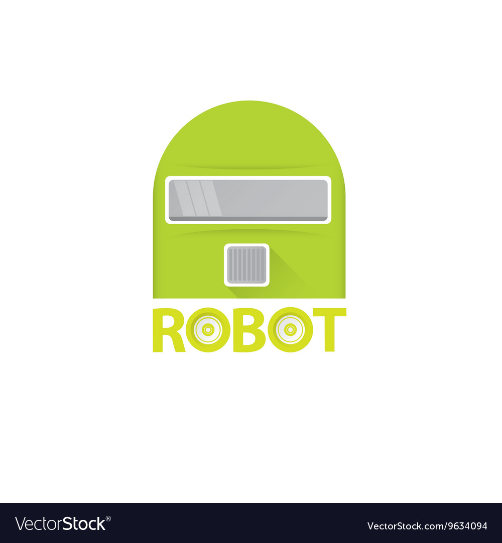 Funny green robot head logo design