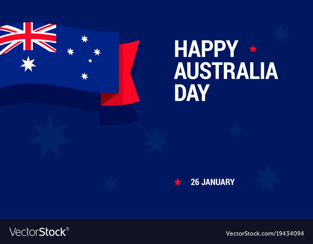 Happy australia day celebration card with national