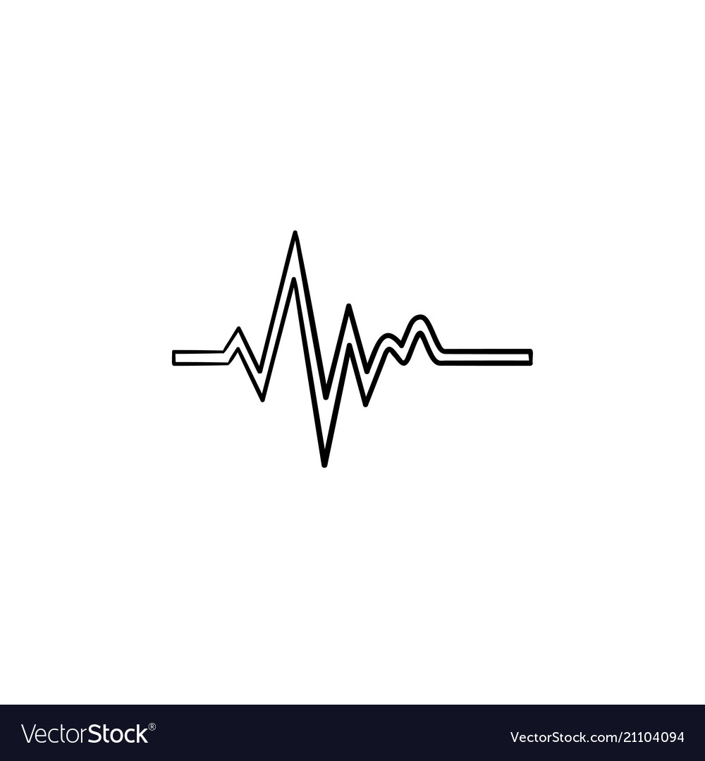 Heatbeat trace on cardiogram hand drawn outline