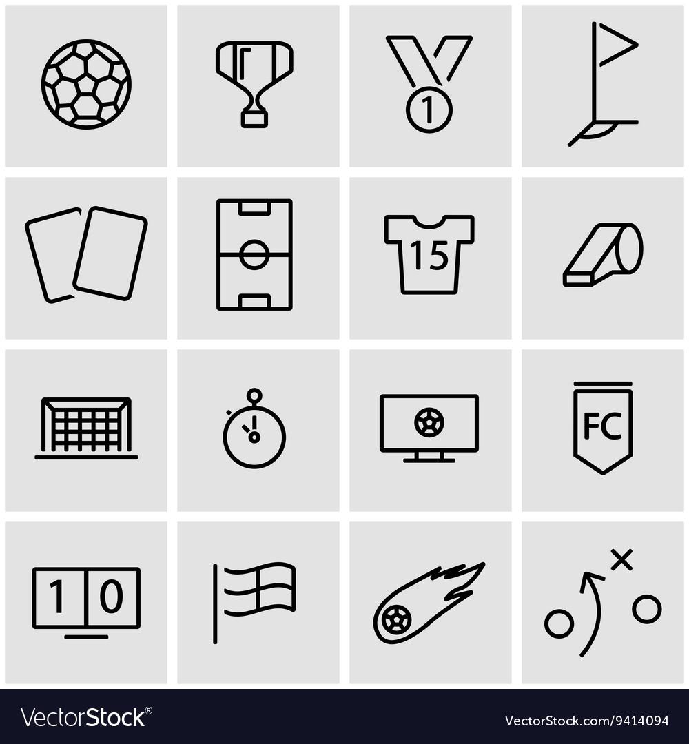 Line soccer icon set