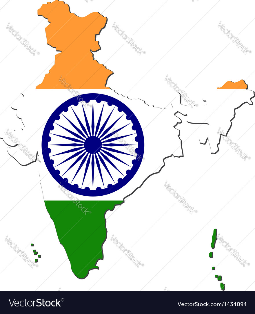 Map of India with national flag vector image