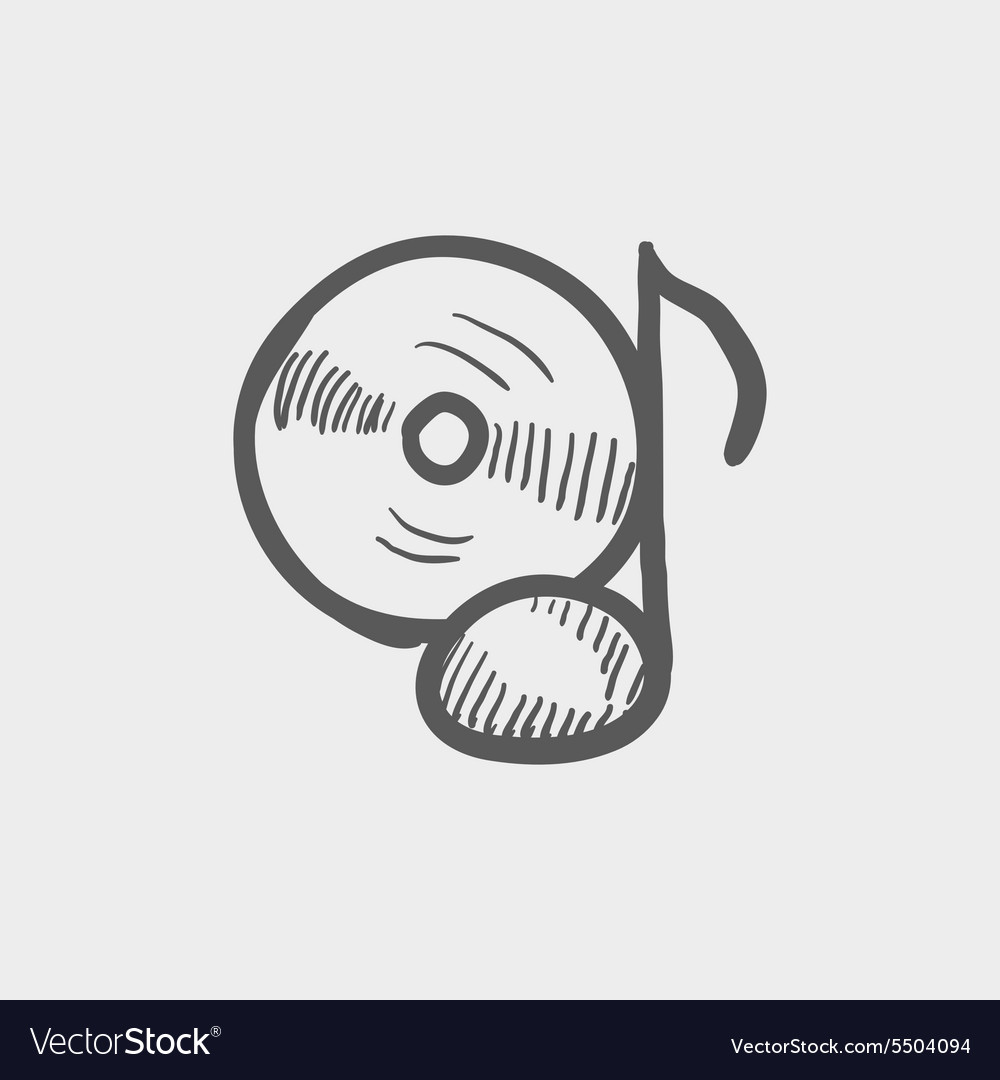Note with phonograph record sketch icon vector image
