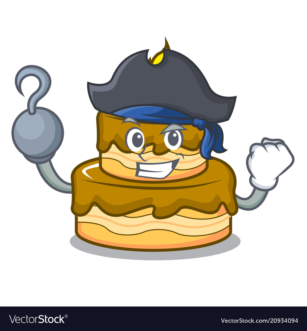 Pirate Birthday Cake Character Cartoon Vector Image