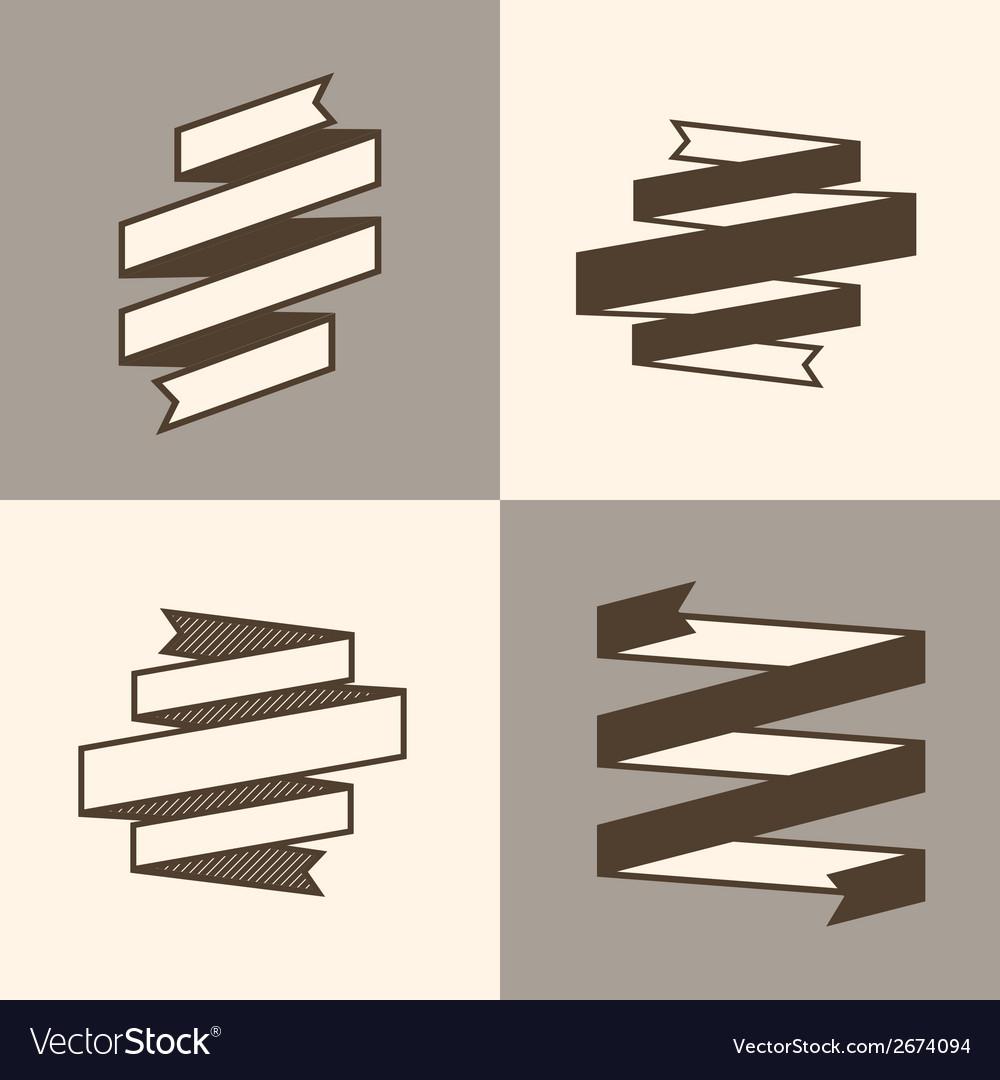 Retro Ribbon Banner design elements