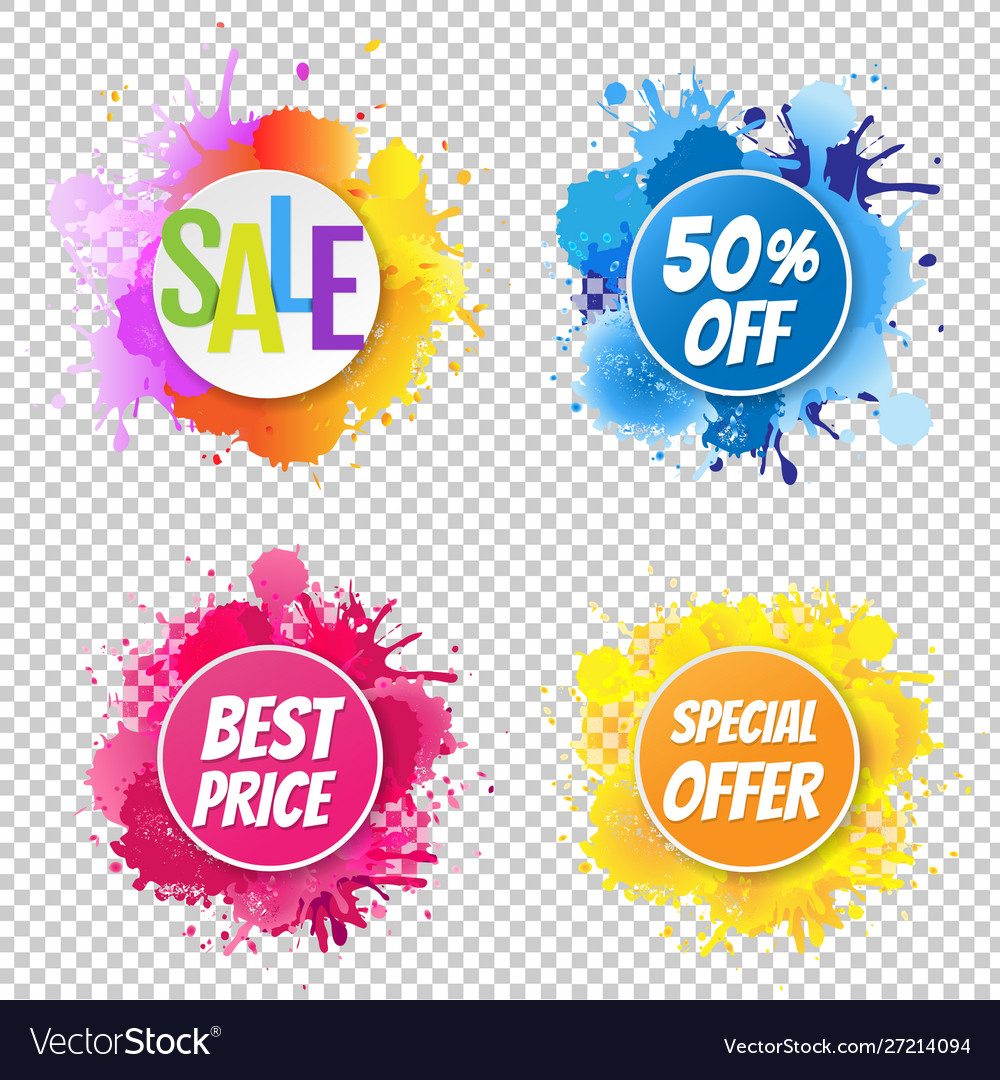 Sale banner with color text with blobs