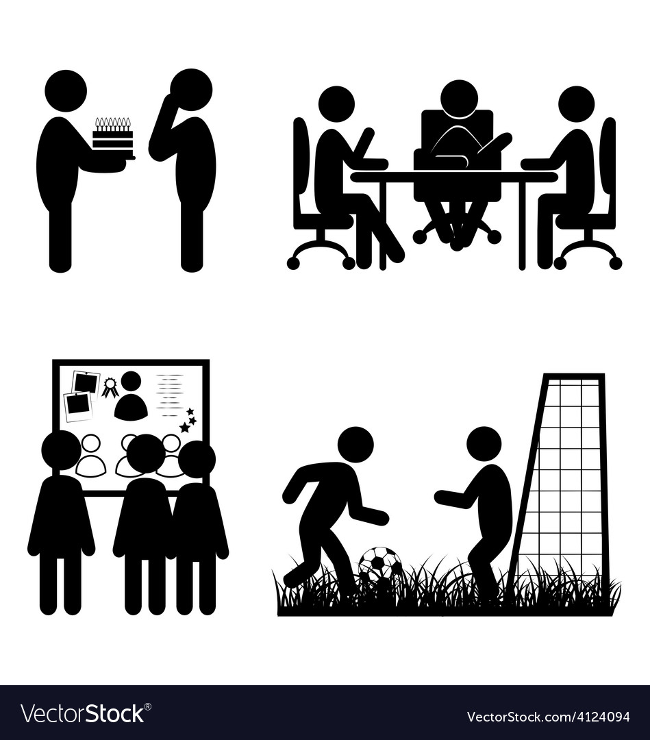 Set of flat office internal communications icons vector image