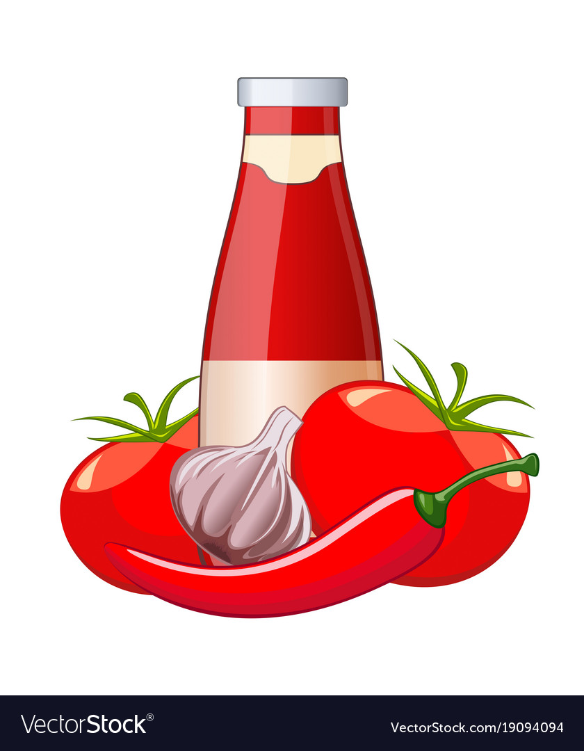Tomato ketchup bottle isolated on white