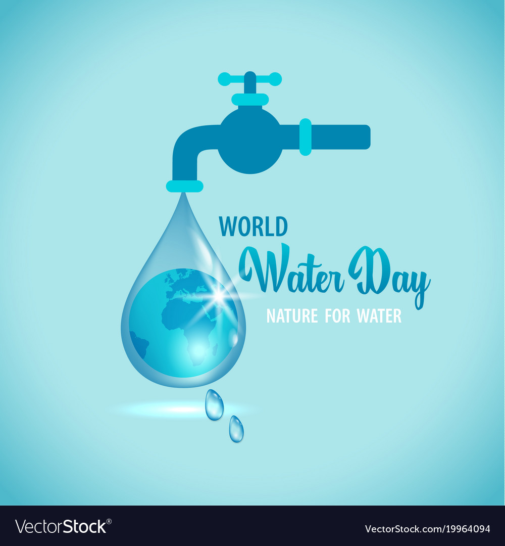 Water tap with the earth vector image