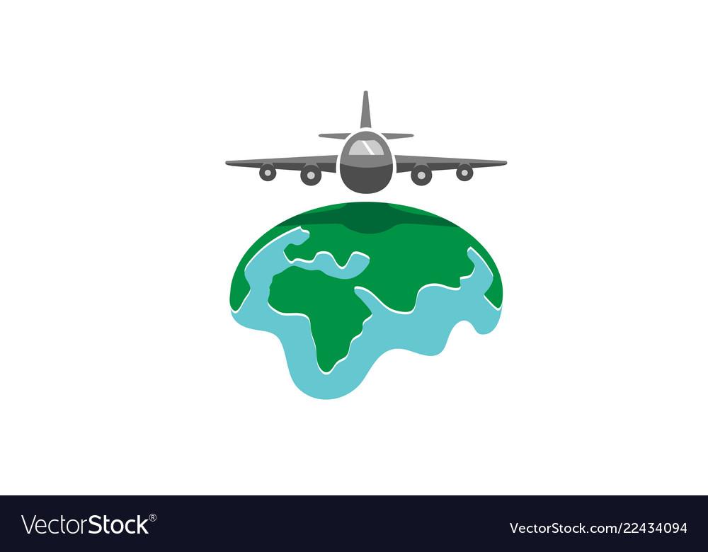World airplane earth symbol creative air logo