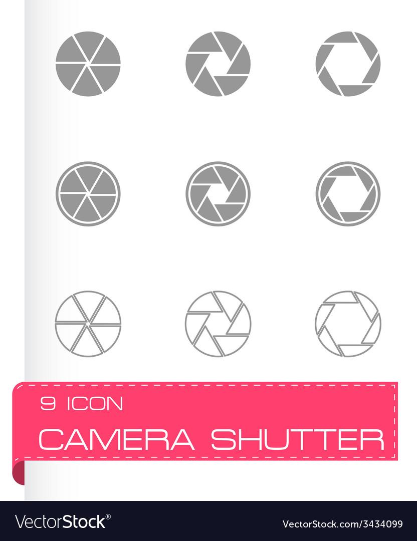 Black camera shutter icon set