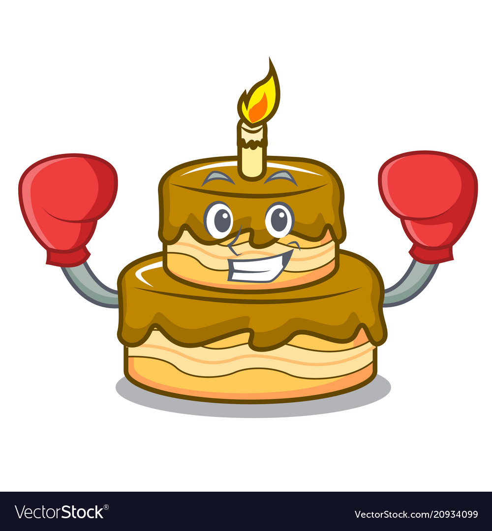 Boxing Birthday Cake Character Cartoon Vector Image