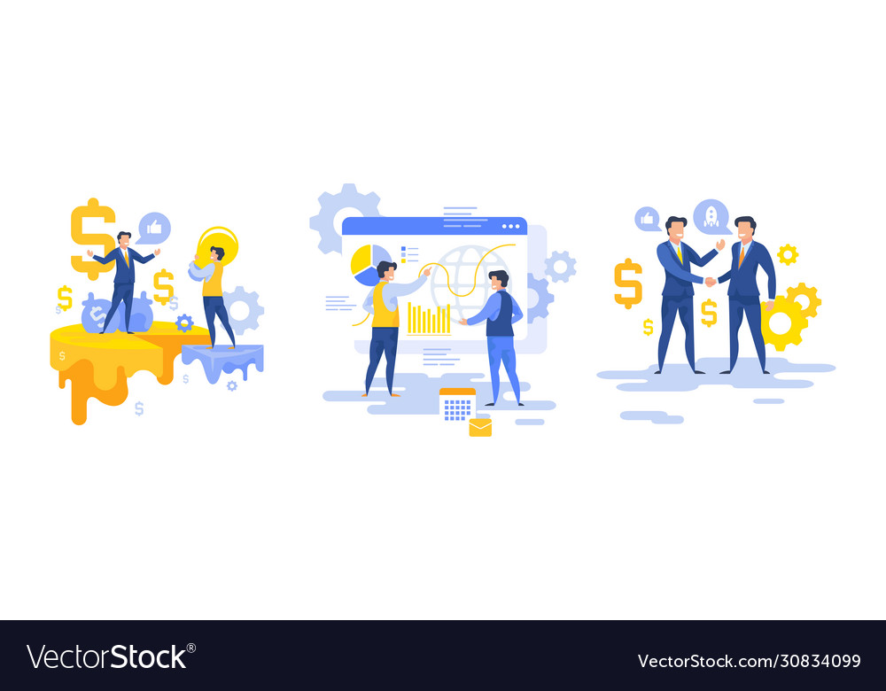 Cartoon bankers working with finances set of