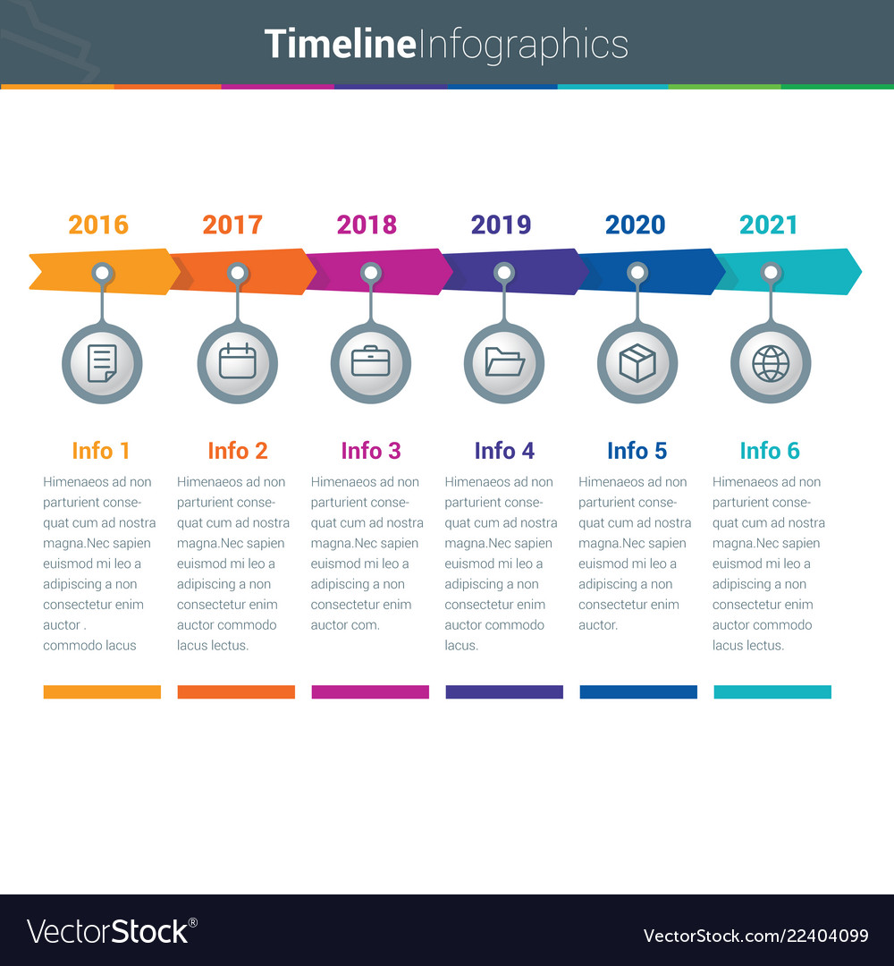 Clean and colourful timeline arrow infographics