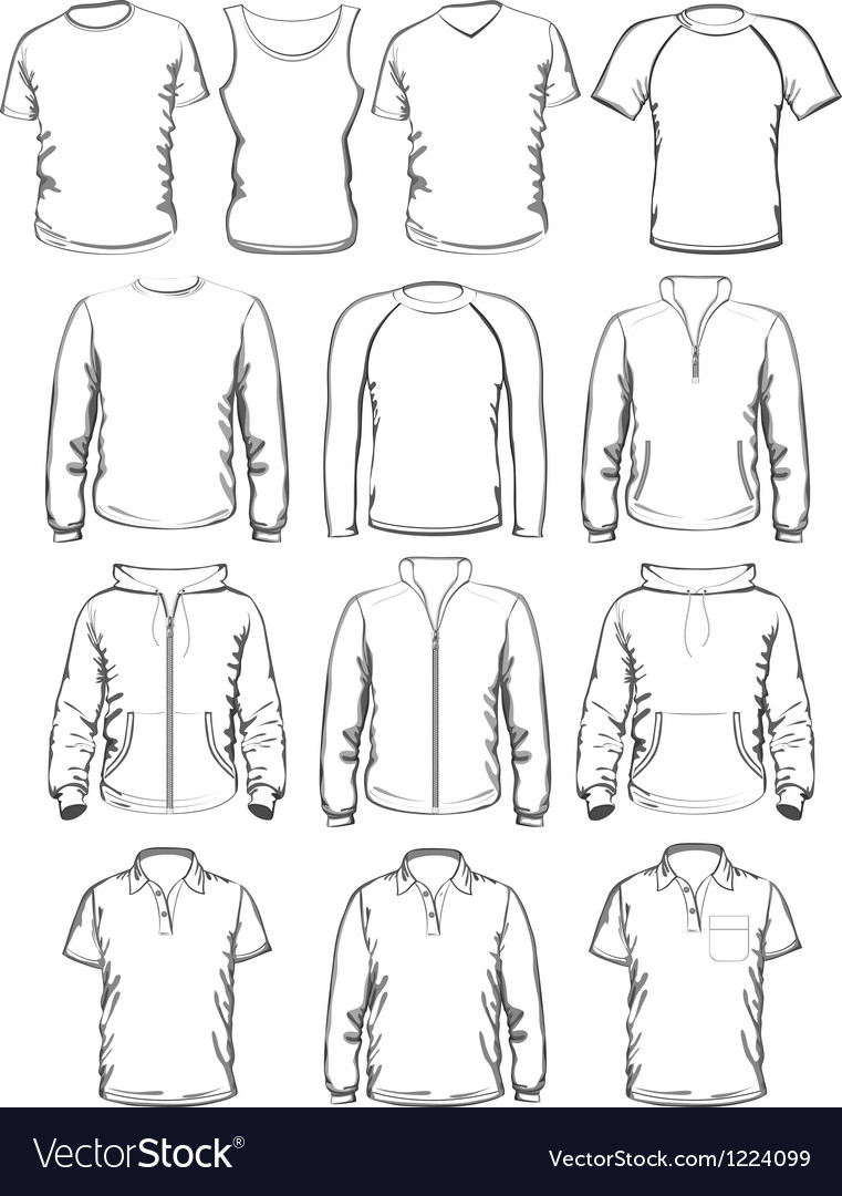 Collection of men clothes outline templates vector image on VectorStock