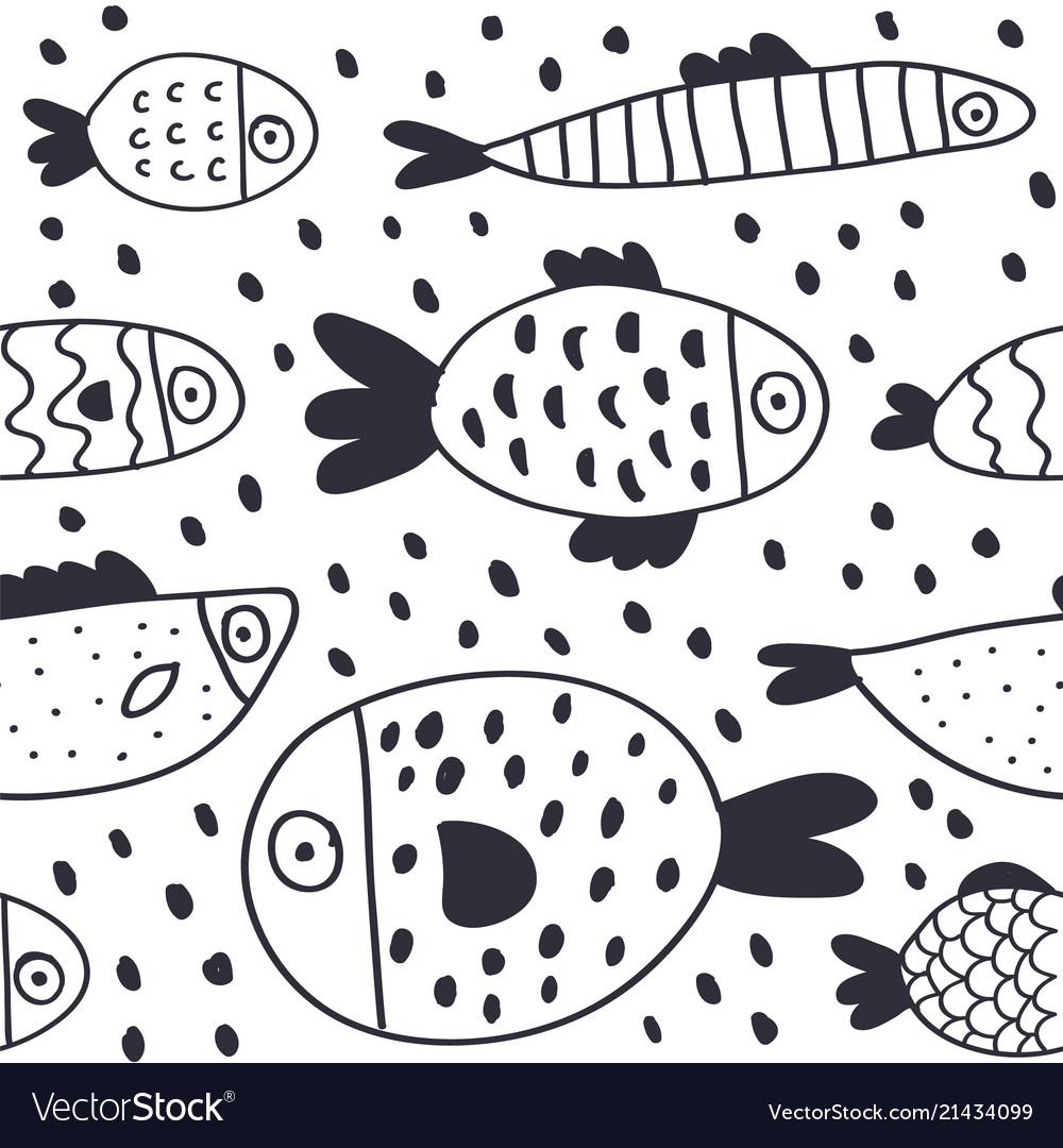 Cute cartoon fish seamless pattern