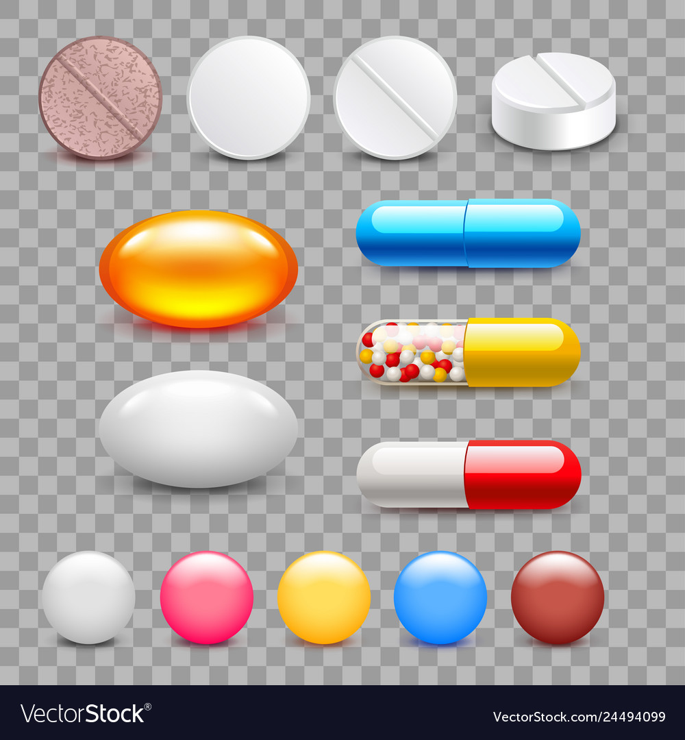 Different medicine pills icons isolated set