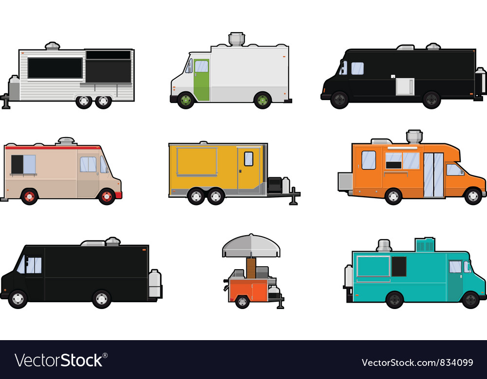 Food trucks vector