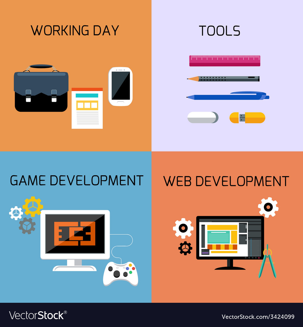 Game web development and business tools icon set