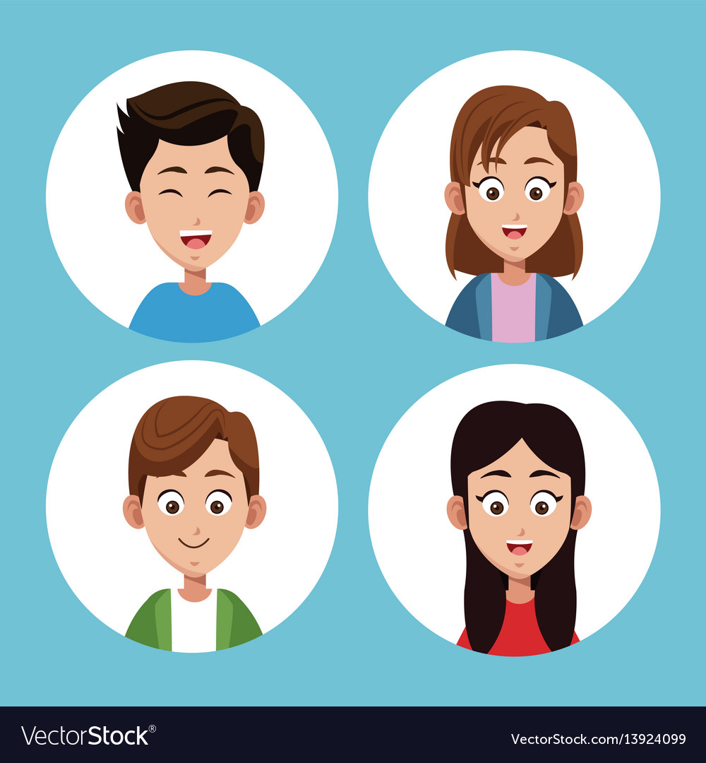 Group sister and son together vector image