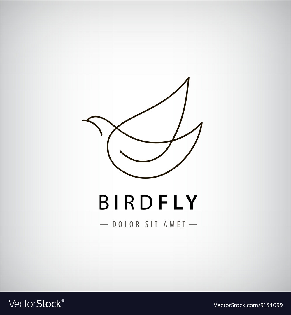 Line bird logo pigeon silhouette flying