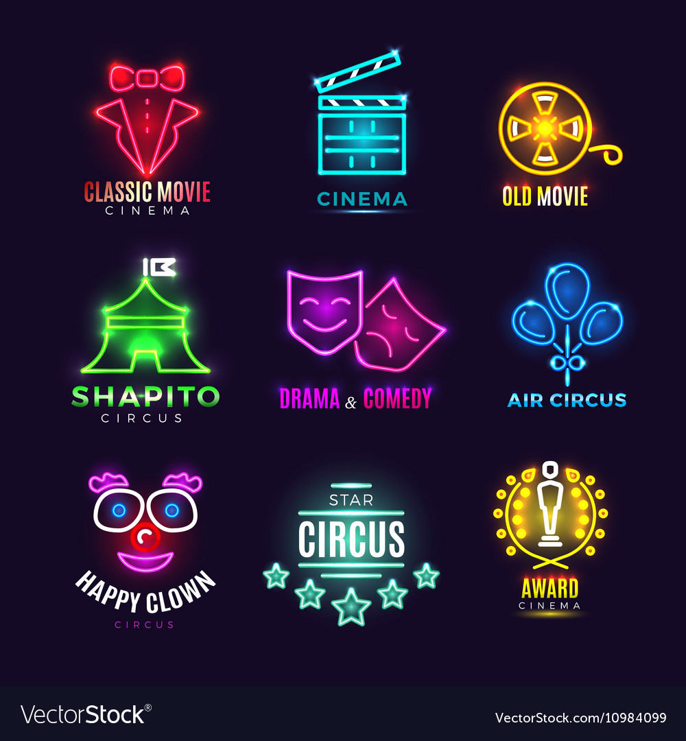 Neon circus cinema movie vintage labels