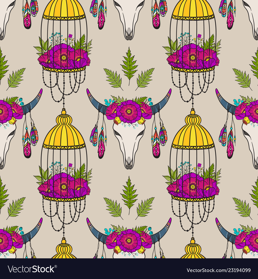 Seamless pattern with cow skull and bird cage