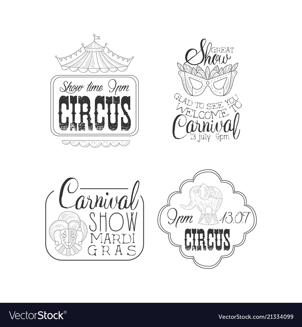Set of circus and mardi gras carnival signs