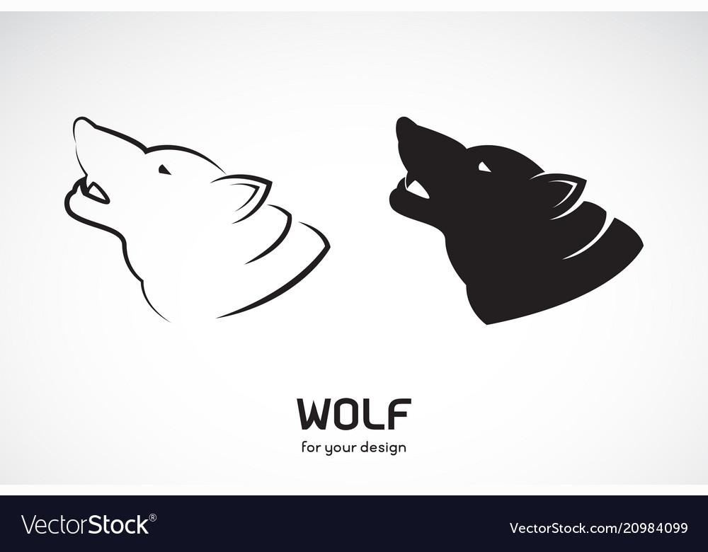 Wolf head design on white background wild