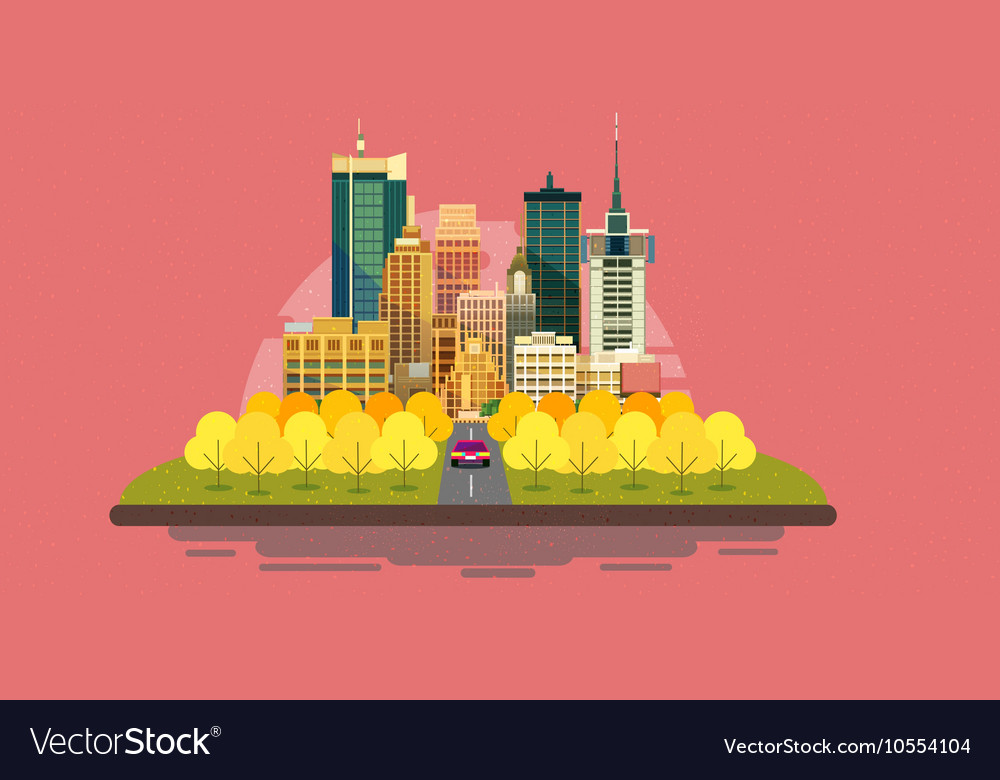 Autumn city landscape with buildingsYellow and