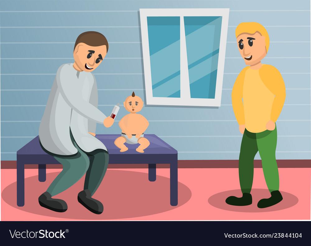 Baby pediatrician concept banner cartoon style