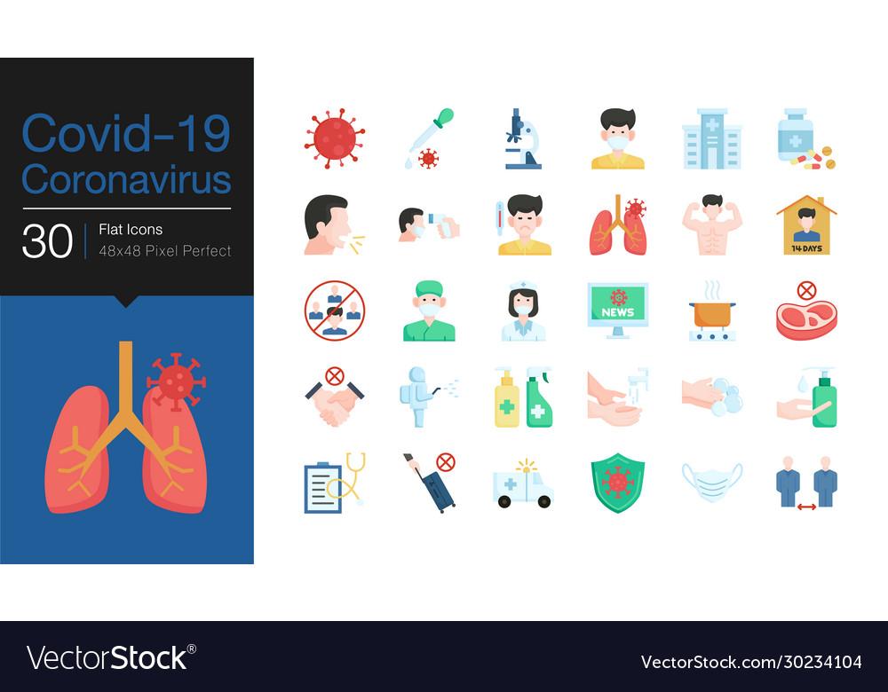 Covid19-19 corona virus icons flat design world