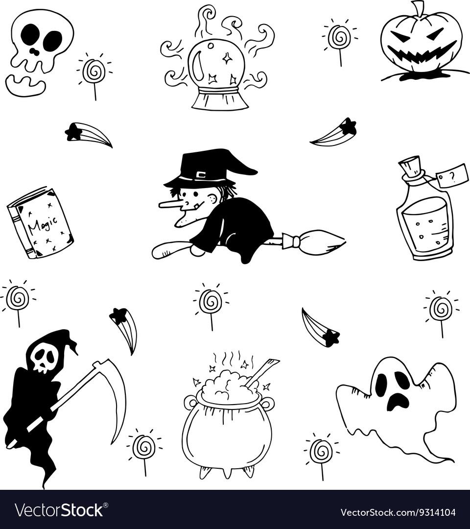 Element halloween doodle hand draw