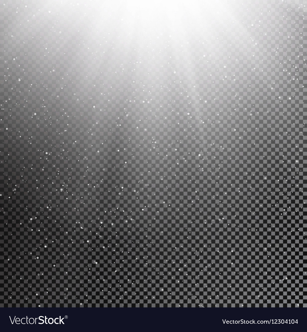 Falling snow and sun on transparent background