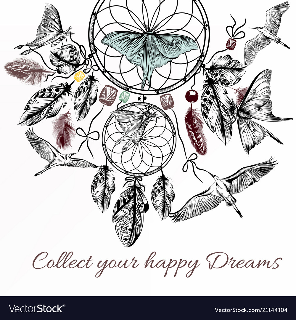 Hand drawn dream catcher in engraved style