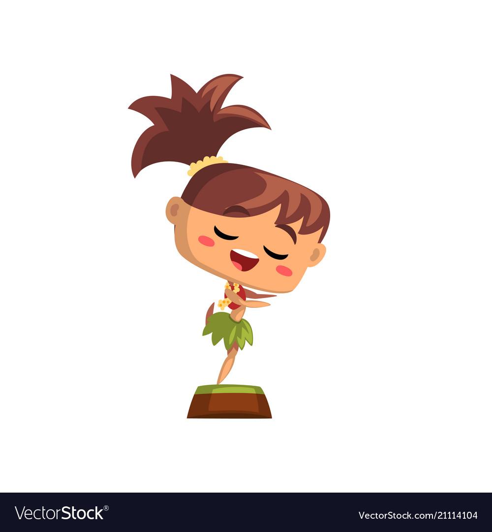 Happy hawaiian girl dancing in traditional costume vector image