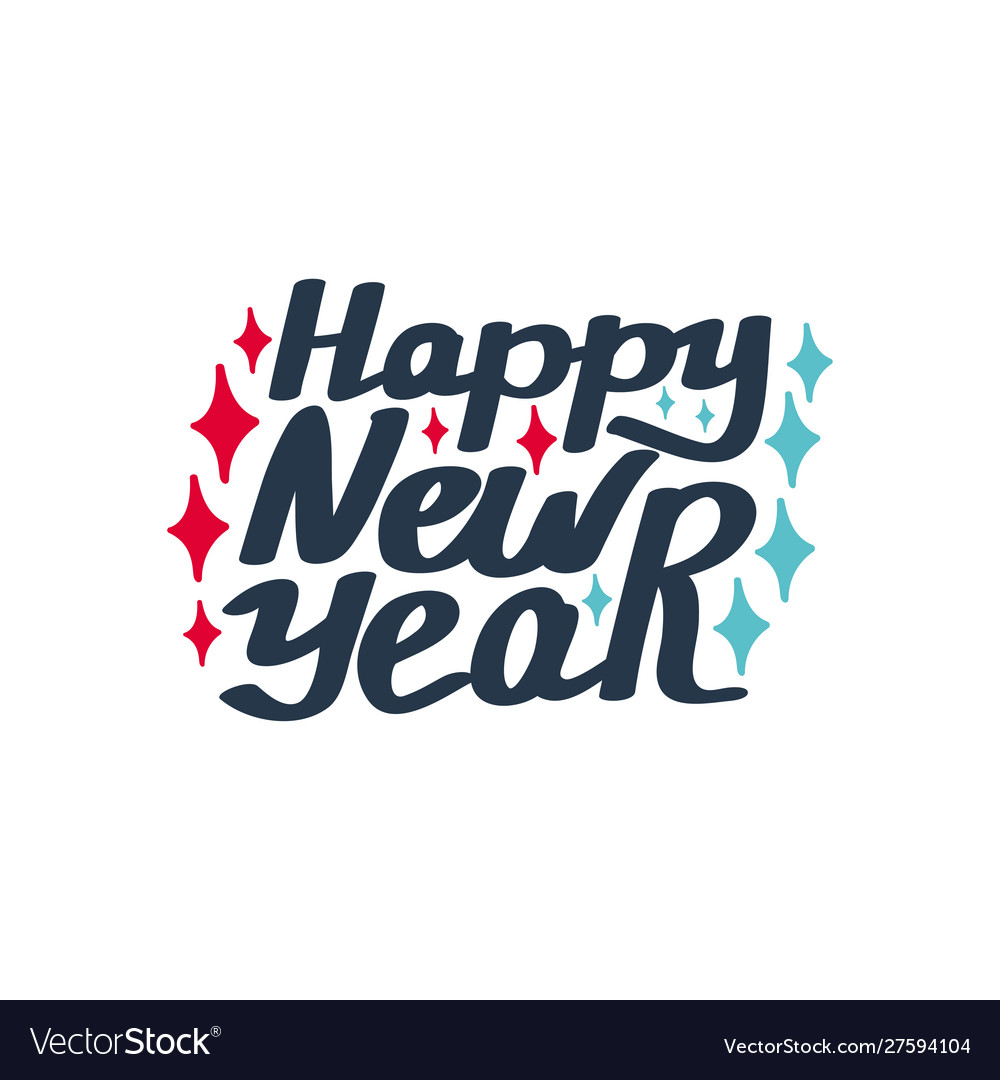 Happy new year hand-lettering text