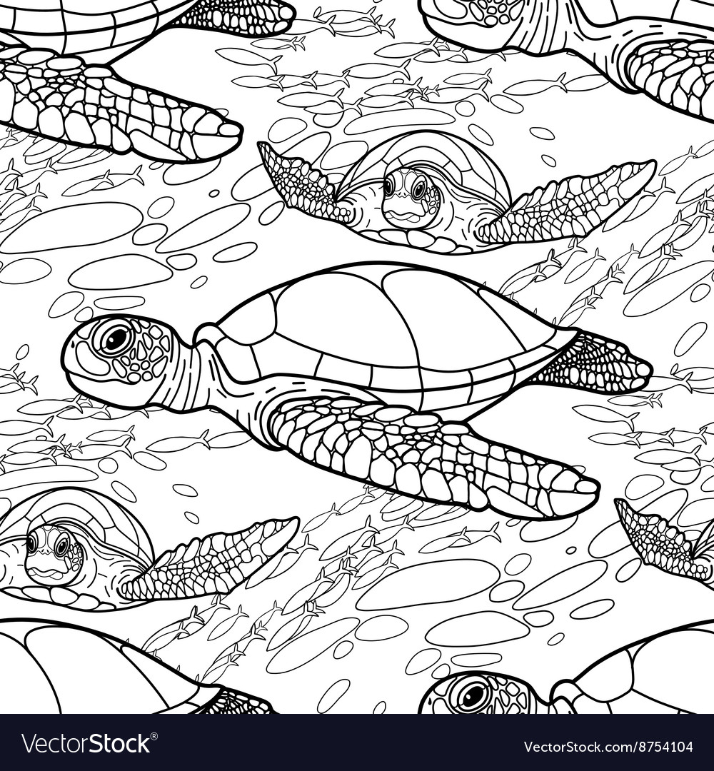 Hawksbill Sea Turtle Pattern Royalty Free Vector Image