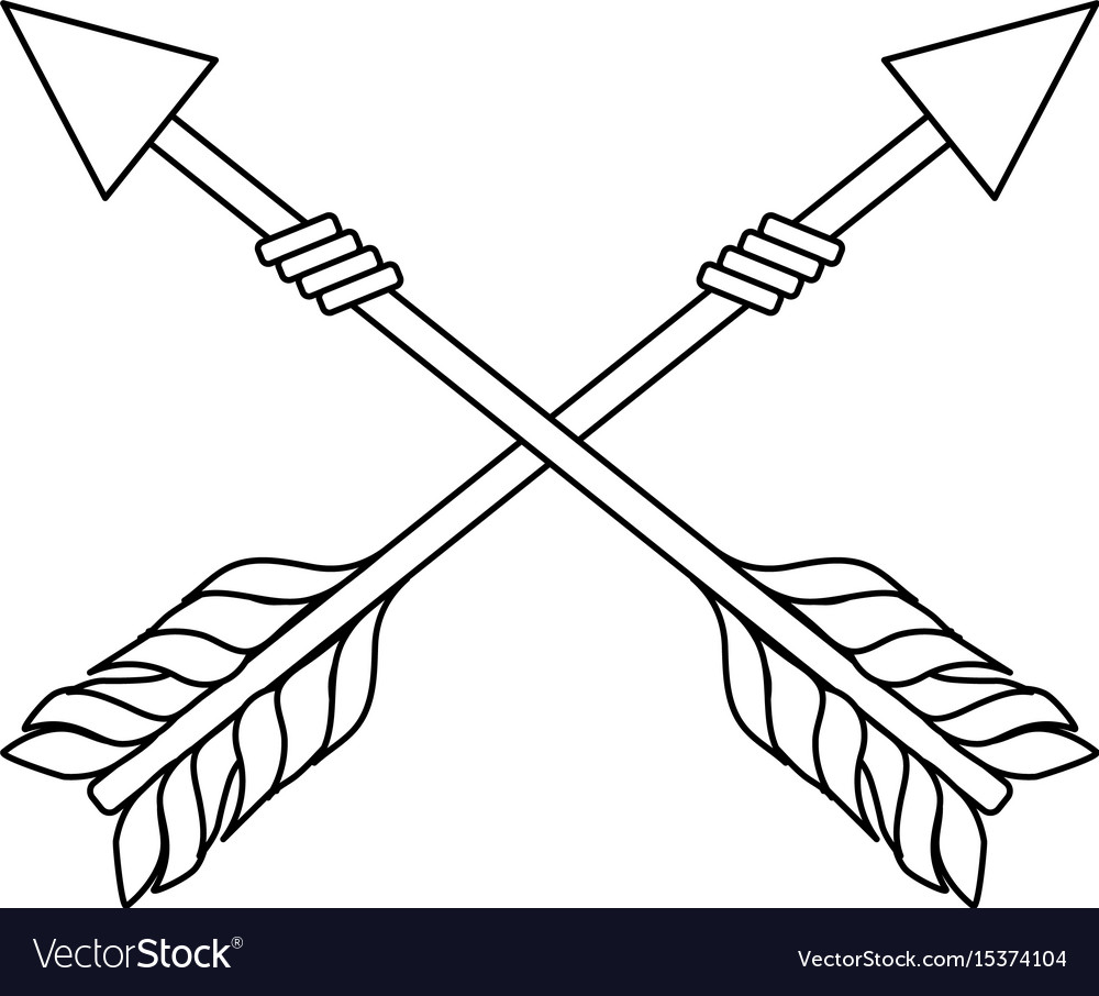 Line rustic arrows with ornamental design vector image