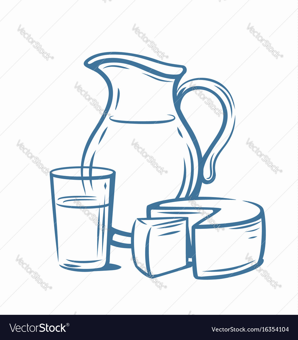 Milk products with glass vector image