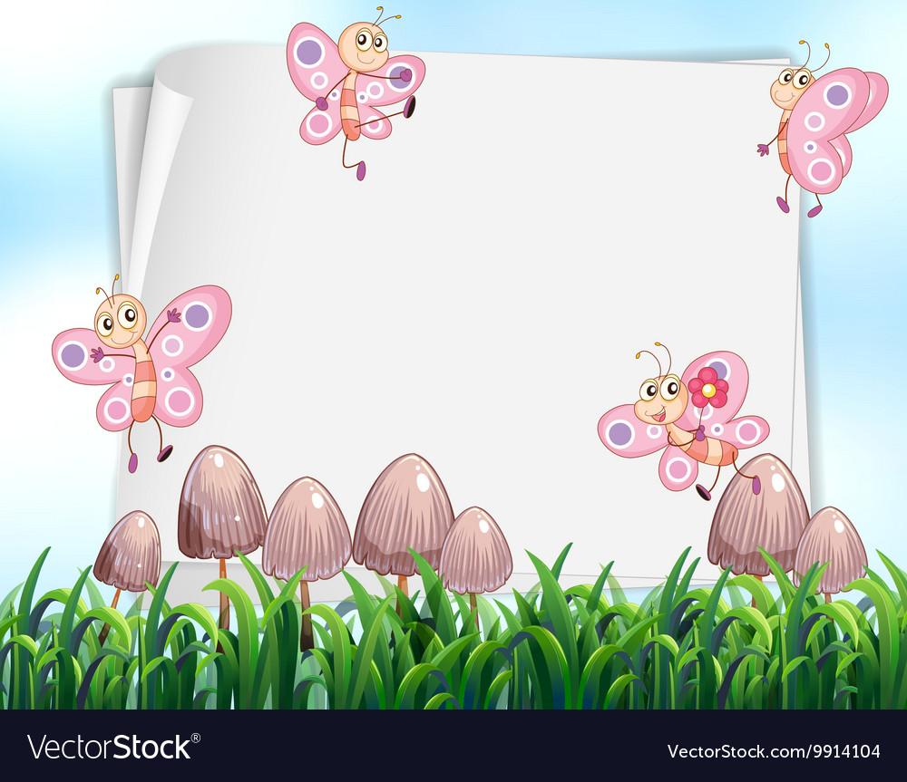 Paper design with butterflies flying in garden