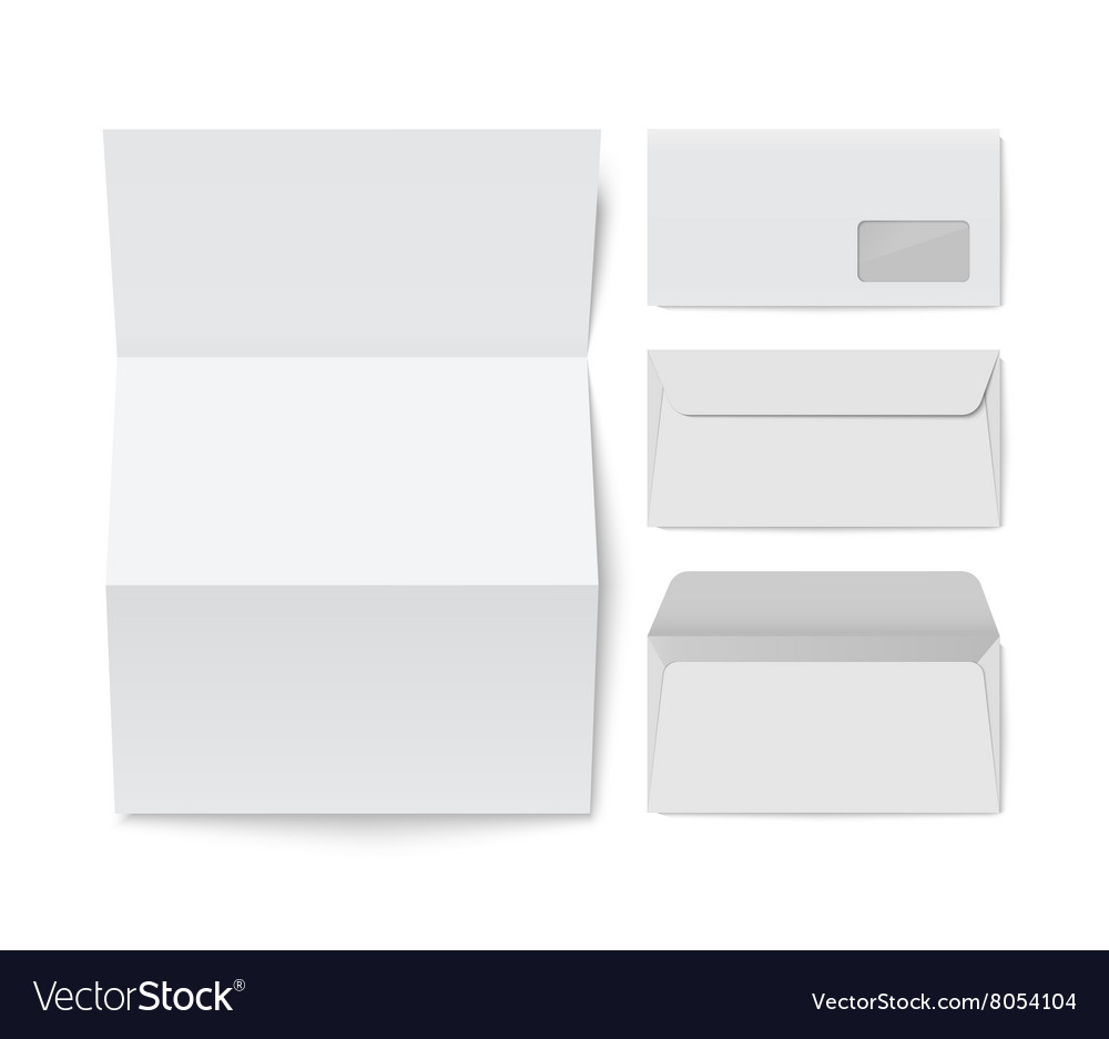 paper folded letter and blank envelope template vector image