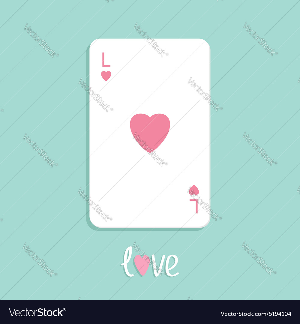 Poker playing card with heart sign Love background