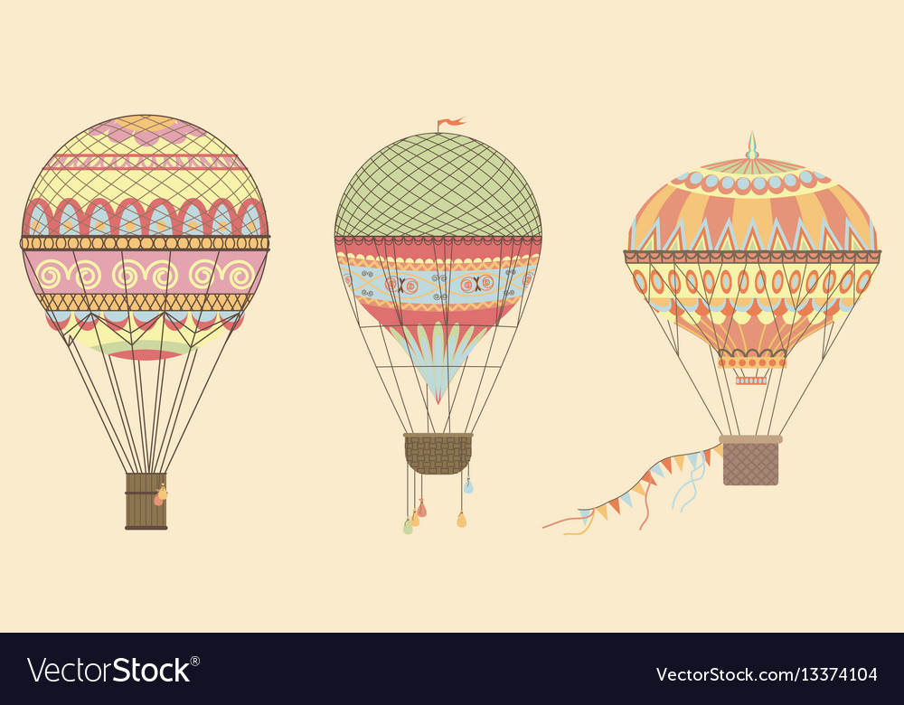 Vintage hot air balloons in sky