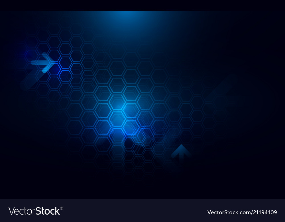 Abstract dark blue hexagons and arrows background