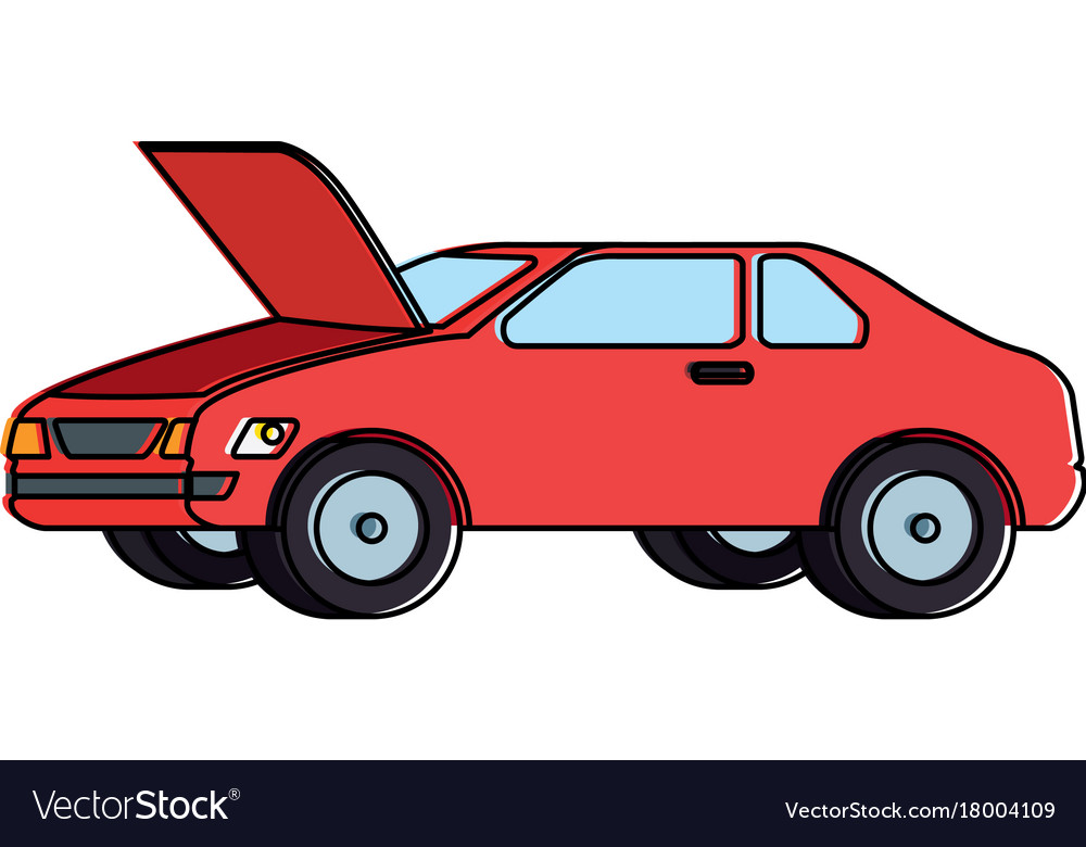 Car With Open Hood Royalty Free Vector Image Vectorstock
