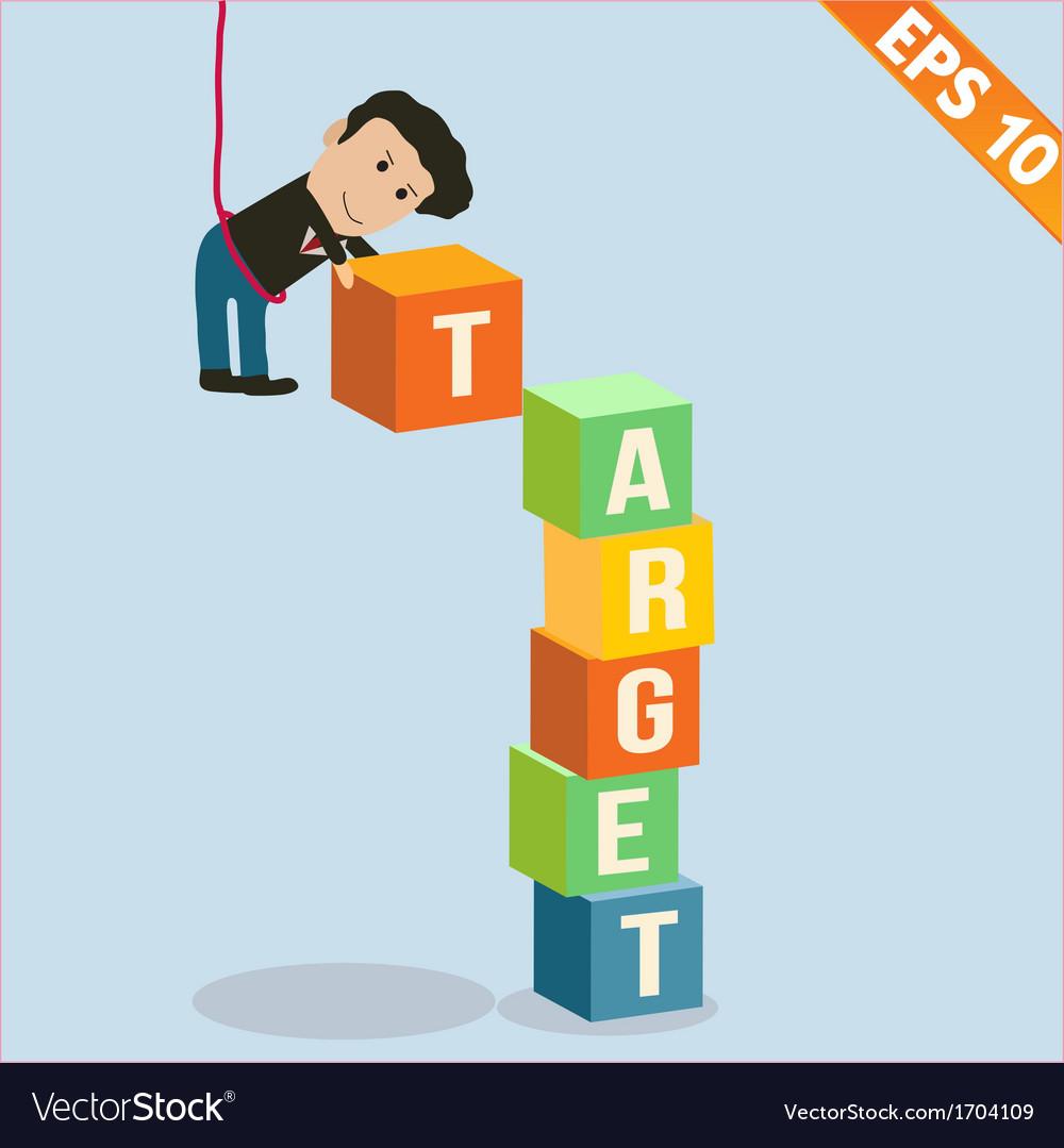 Cartoon Businessman stacking target box vector image