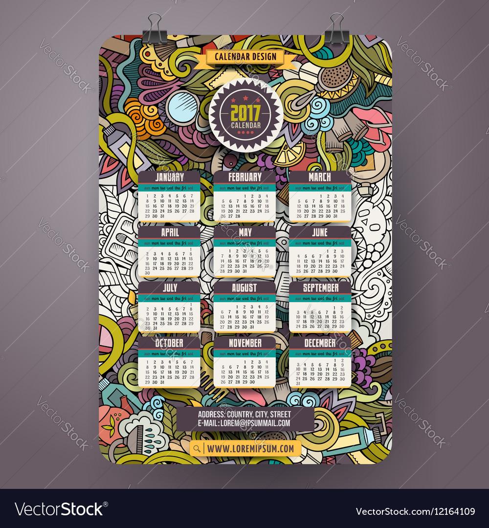 Cartoon doodles Beauty 2017 year calendar template vector image