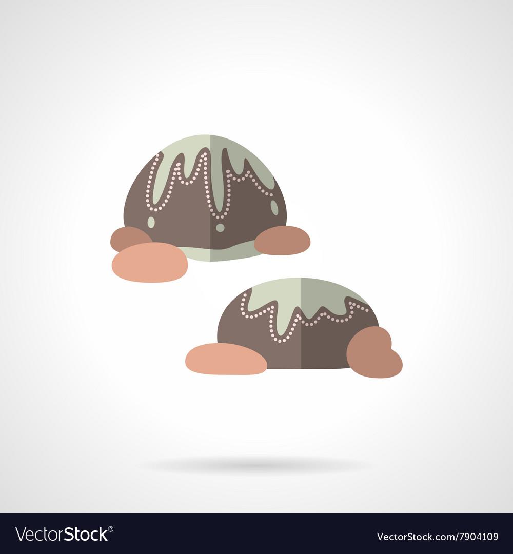 Chocolates flat color design icon